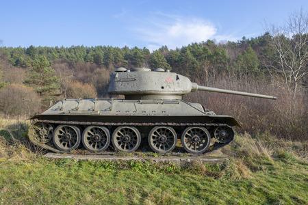 T-34 soviet tank from World War II. Kapisova near Dukla or Svidnik, Slovakia Editorial