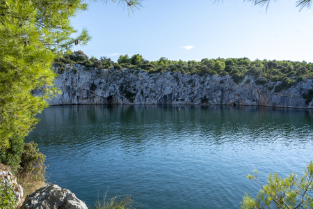 Dragons Eye - Zmajevo Oko in Rogoznica, Croatia. Natural geohydromorphological phenomenon. Salt water lake.