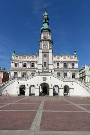 Town hall on the old town square in Zamosc, Poland