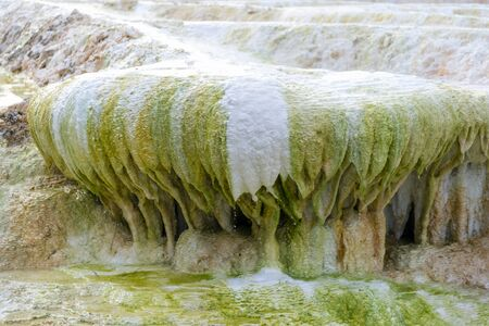 Famous travertine limestone rock formations of thermal waters in Egerszalok, Hungary