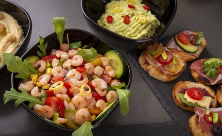 Shrimp salad with open sandwiches Banco de Imagens