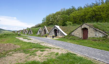 Traditional wine cellars in Hercegkut near Sarospatak Tokaj region Hungary - Button Hill