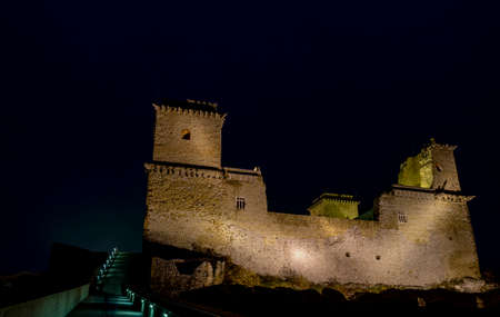 Diosgyor medieval castle in Miskolc, Hungary. Night view