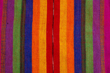Closeup texture and pattern of colorful Maya tribe from Guatemala textile Banco de Imagens