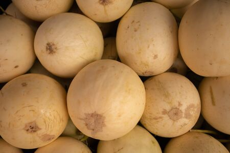 A close up, faded fresh melon Lay the pile on the floor
