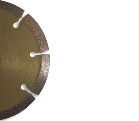 Golden diamond blade for cutting concrete On a white background