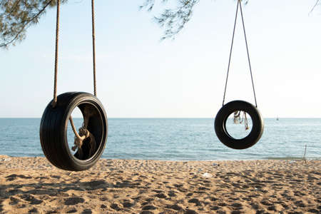 Tire swings hang from trees on the sandy beach. With a background of blue sea and sky with coluds