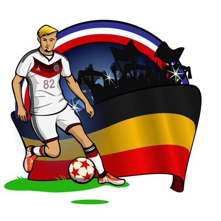upcoming: Flat illustration of German soccer player that represents upcoming Football Championship in France.  German flag and football fans on the background.