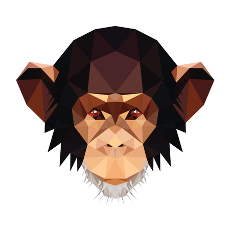 Low poly symmetrical illustration of chimpanzee monkey, the symbol of forthcoming New Year.