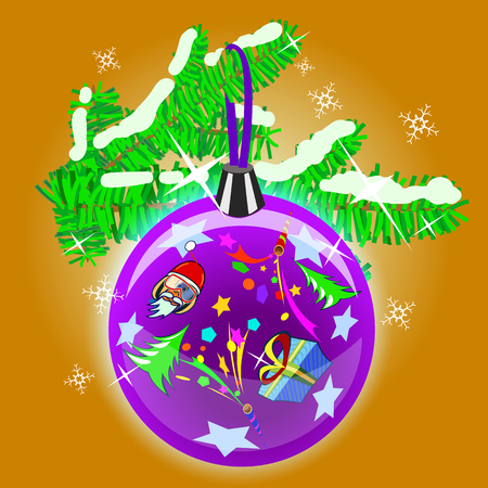christams: Flat illustration of Christams tree branch and decoration with funny monkey, christmas tree, stars and petard. Can be used as New Year postcard. Made in linear cartoon style. Illustration