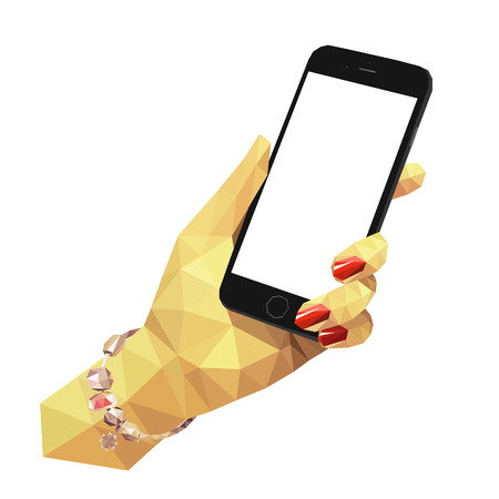 smartphone in hand: Flat low poly illustration of female hand holding black mobile phone.