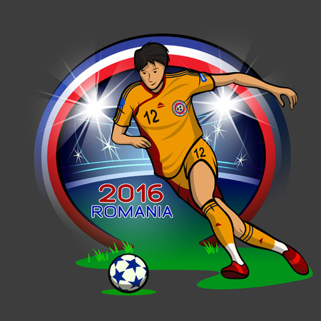romanian: Flat illustration of Romanian soccer player. Made in cartoon comic style.
