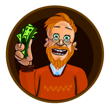 redheaded: Funny vector illustration of smiling young man holding money in his hand. Made in comic cartoon style.