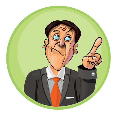 astonished: Vector illustration of an office worker or businessman holding his index finger up symbolizing new idea. Can be used as an advertisement.  Made in comic cartoon style.