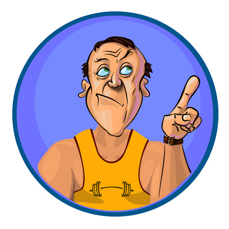 hand with dumbbell: Vector image of a trainer holding his index finger up – the gesture of attention.  Made in comic cartoon style.