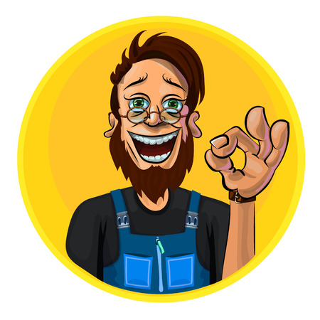 workman: Vector illustration of a workman showing OK gesture. Made in comic cartoon style. Illustration