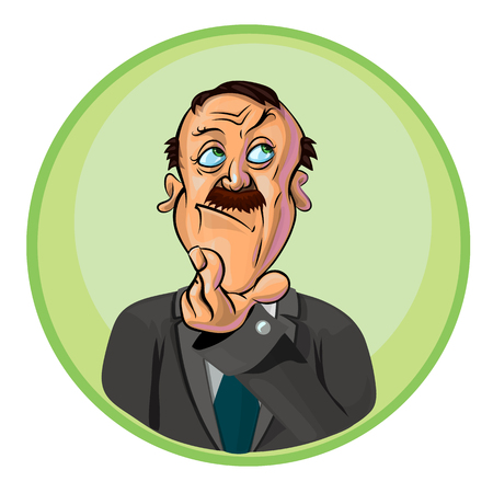 thoughtful: Vector illustration of thoughtful office worker or businessman. Can be used as an advertisement.  Made in comic cartoon style.
