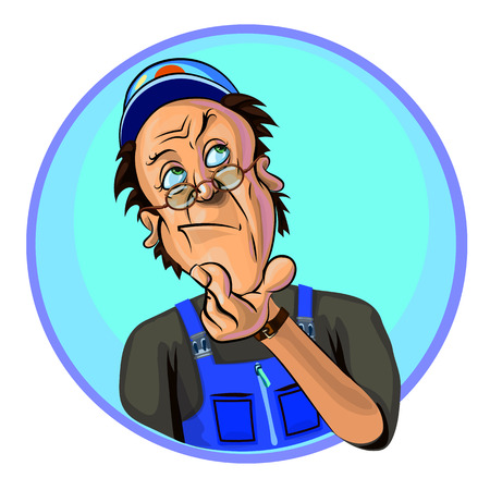Vector illustration of thoughtful workman. Made in comic cartoon style.