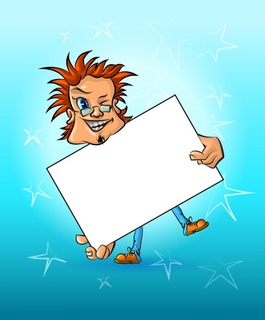 redheaded: Funny vector illustration of winking man holding blank poster – a place for your text. May be used as an advertisement. Made in comic cartoon style.