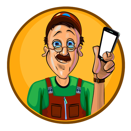 workman: Vector image of a workman holding a smartphone in his hand. Made in comic cartoon style.
