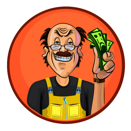 workman: Vector image of a workman holding money in his hand. Made in comic cartoon style. Illustration