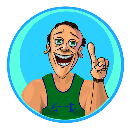 hand with dumbbell: Vector image of cheerful trainer holding his index finger up – the gesture of attention.  Made in comic cartoon style. Illustration