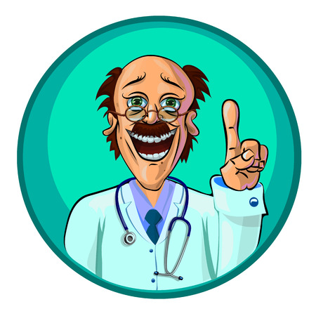 Vector illustration of a doctor holding his index finger up – the gesture of attention. Can be used as an advertisement.  Made in comic cartoon style. 向量圖像