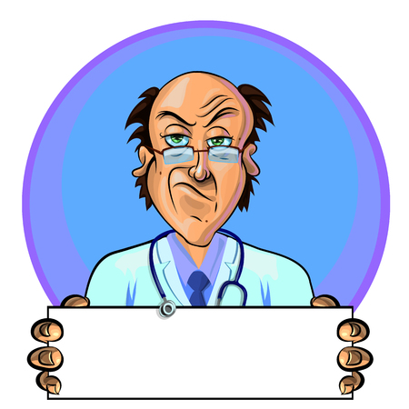 Vector illustration of a doctor holding blank banner in his hands. Can be used as an advertisement. Made in comic cartoon style.