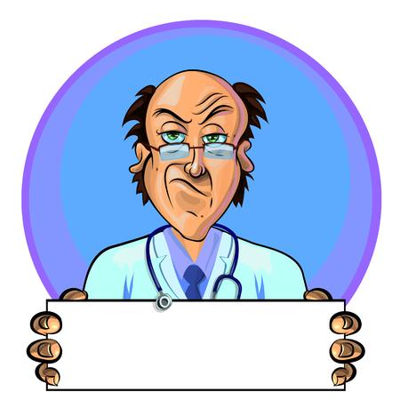 Vector ilustración de un doctor que sostiene la bandera en blanco en sus manos. Se puede utilizar como un anuncio. Hecho en el estilo cómico.
