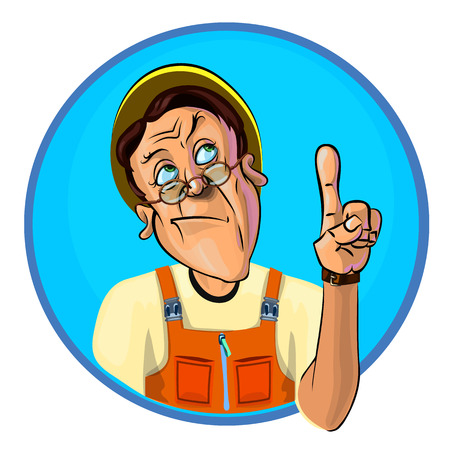 workman: Vector illustration of a workman holding his index finger up – the gesture of attention.  Made in comic cartoon style.