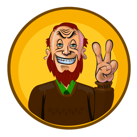 redheaded: Funny vector illustration of smiling man showing V sign. Made in comic cartoon style. Illustration