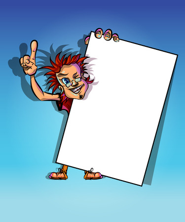 Funny vector illustration of winking man holding blank poster and showing his index finger. May be used as an advertisement. Made in comic cartoon style.