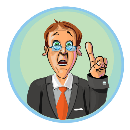 astonished: Vector illustration of astonished office worker or businessman holding his index finger up symbolizing new idea. Can be used as an advertisement.  Made in comic cartoon style. Illustration