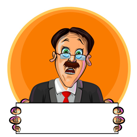 astonished: Vector illustration of astonished office worker or businessman holding blank poster in his hands. Can be used as an advertisement.  Made in comic cartoon style.