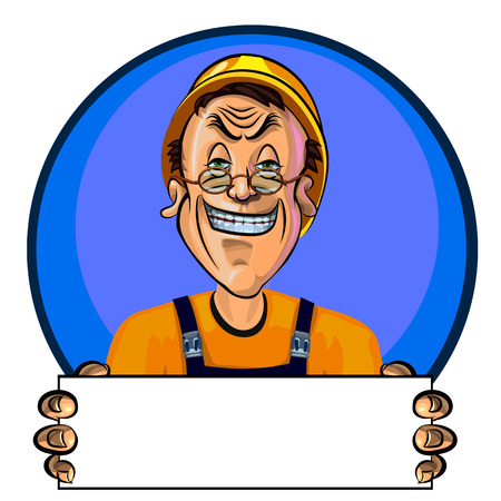 workman: Vector illustration of smiling workman holding blank poster in his hands. Can be used an advertisement. Made in comic cartoon style. Illustration