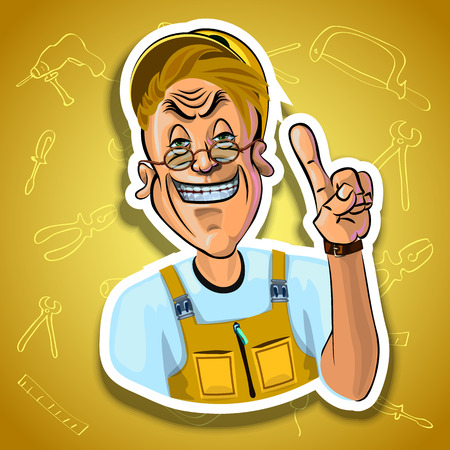 workman: Vector image of smiling workman holding his index finger up - sign of attention. Gradient background with the images of different tools. Made in comic cartoon style. Stock Photo