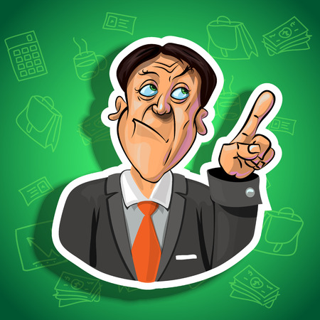 office accessories: Vector illustration of thoughtful businessman holding his index finger up - sign of attention. Gradient background with the office accessories.  Made in comic cartoon style.