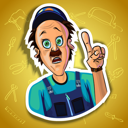 astonished: Vector image of astonished workman holding his index finger up - sign of attention. Gradient background with the images of different tools. Made in comic cartoon style.