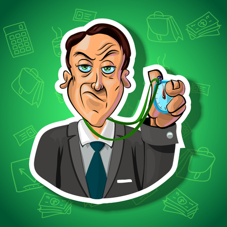 office accessories: Vector illustration of strict businessman holding a timer in his hand. Gradient background with the office accessories.  Made in comic cartoon style.