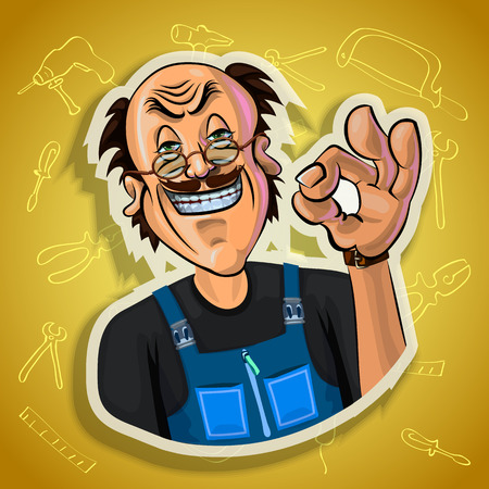 workman: Vector illustration of smiling workman showing OK gesture. Gradient background with the images of different tools. Made in comic cartoon style.