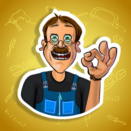 workman: Vector illustration of cheerful workman showing OK gesture. Gradient background with the images of different tools. Made in comic cartoon style.