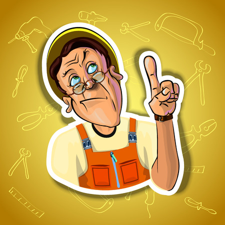 workman: Vector image of thoughtful workman holding his index finger up - sign of attention. Gradient background with the images of different tools. Made in comic cartoon style. Stock Photo