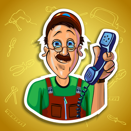 workman: Vector illustration of smiling workman holding a handset in his hand. Gradient background with the images of different tools. Made in comic cartoon style.