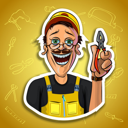 workman: Vector image of cheerful workman holding pliers in his hand. Gradient background with the images of different tools. Made in comic cartoon style.