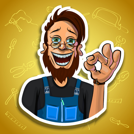 workman: Vector illustration of cheerful bearded workman showing OK gesture. Gradient background with the images of different tools. Made in comic cartoon style. Stock Photo