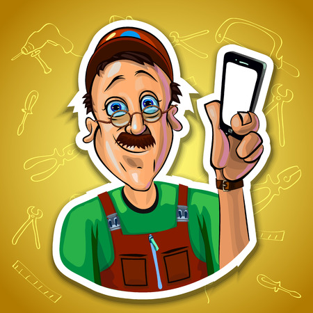 workman: Vector illustration of smiling workman holding a mobile phone in his hand. Gradient background with the images of different tools. Made in comic cartoon style. Stock Photo