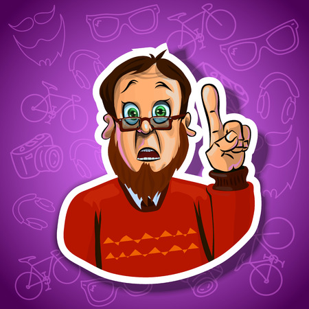 astonished: Vector illustration of astonished man holding his index finger up - sign of attention. Can be used as a sticker. Made in comic cartoon style.