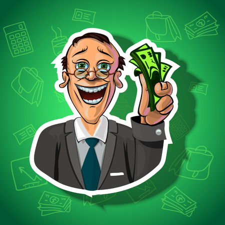 office accessories: Vector illustration of smiling businessman holding money in his hand. Gradient background with the office accessories.  Made in comic cartoon style.