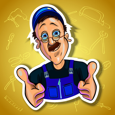 workman: Vector illustration of smiling workman holding his hands with thumbs up. Gradient background with the images of different tools. Made in comic cartoon style.