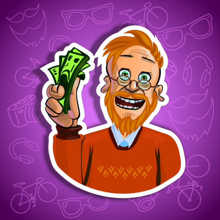 man holding money: Vector illustration of smiling red haired man holding money in his hand. Gradient backroung with the images of hipster accessories. Made in comic cartoon style.